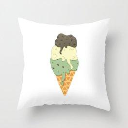 Mint-Vanilla-Chocolate Ice Cream Sundae Throw Pillow