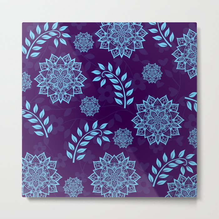 Mandalas & Leaves Pattern Blue Purple Metal Print