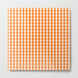 Classic Pumpkin Orange and White Gingham Check Pattern Metal Print