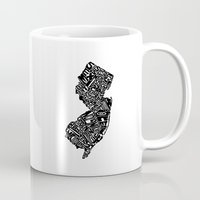 new jersey Mugs featuring Typographic New Jersey by CAPow!