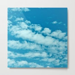 Beautiful blue sky and fluffy clouds Metal Print