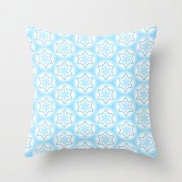 Shiny light blue winter star snowflakes pattern Throw Pillow