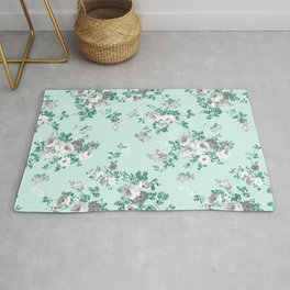 Country chic teal white gray green glitter floral Rug