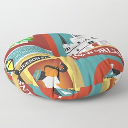 New Orleans, Louisiana - Collage Illustration by Loose Petals Floor Pillow