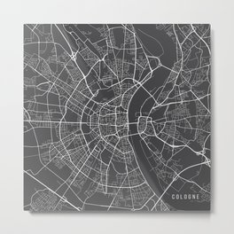 Cologne Map, Germany - Gray Metal Print
