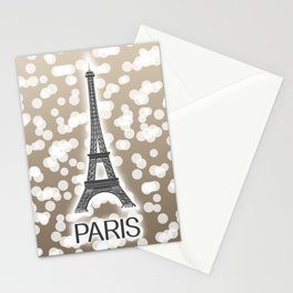 Paris: City of Light, Eiffel Tower (Beige) Stationery Cards