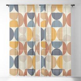 Modern Geometric Seamless Pattern Mid Century XV Sheer Curtain