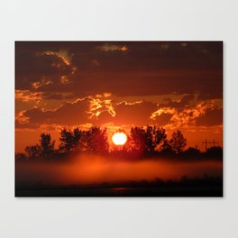Flaming Horses over the Foggy Sunrise Canvas Print