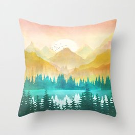 Summer Mountain Sunrise Throw Pillow