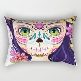Floral girl dia de muertos Rectangular Pillow