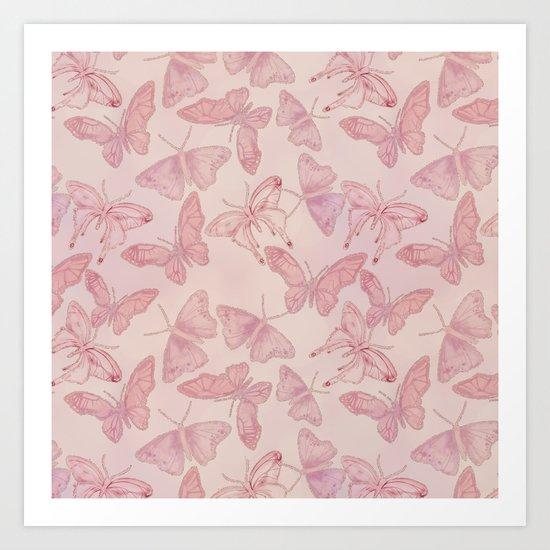 Butterfly Pattern soft pink pastel by lebensart