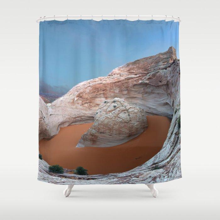 Rock mountain lake Shower Curtain
