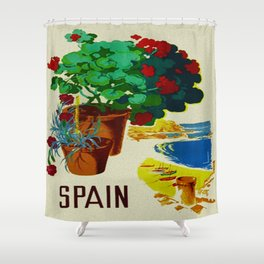 Retro Travel Poster - Spain Shower Curtain