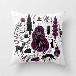 Yule, Birth of the Sun - Black&Wine Throw Pillow