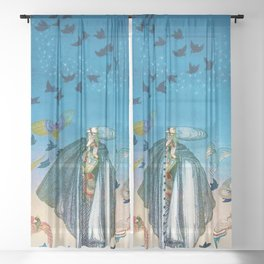 'Flock of Birds and Wild Flowers' magical realism portrait painting by Kay Nielsen Sheer Curtain