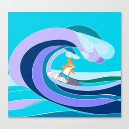 cute corgi surfer Canvas Print