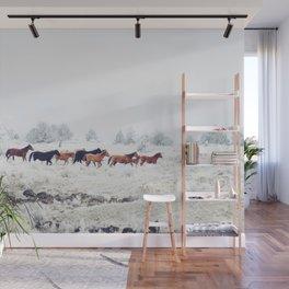 Winter Horse Herd Wall Mural