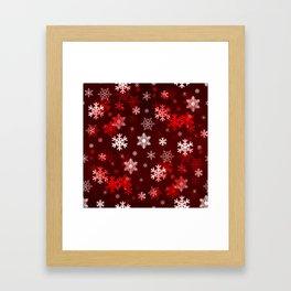 Dark Red Snowflakes Framed Art Print