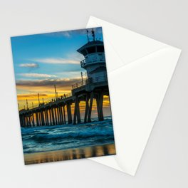 Winter Sunset at Huntington Beach Pier. Stationery Cards