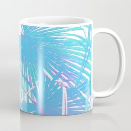 Graphic illustration of palm leaves branches in blue on white Coffee Mug