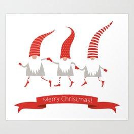 Dancing Nisse Merry Christmas Banner Art Print