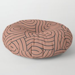 Circle Swirl Pattern Clay Brown, Inspired By Sherwin Williams Cavern Clay SW7701 Floor Pillow
