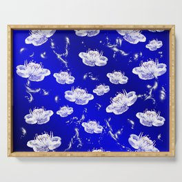 white blossom in blue and silver Digital pattern with circles and fractals artfully colored design Serving Tray