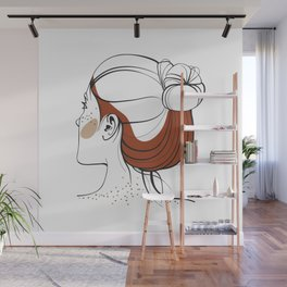 Red-haired woman with freckles. View from the back. Abstract face. Fashion illustration Wall Mural