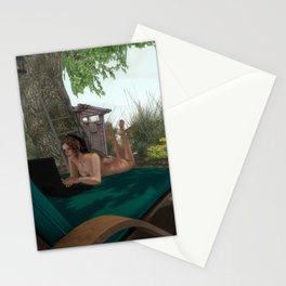 Nudist In Front Of Computer Stationery Cards