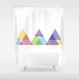 Fig. 029 Rainbow Triangles Geometric Mountains Shower Curtain