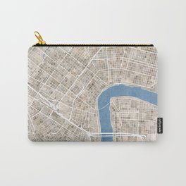 New Orleans Cobblestone Watercolor Map Carry-All Pouch