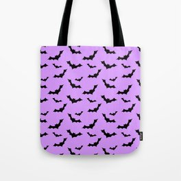 Black Bat Pattern on Purple Tote Bag
