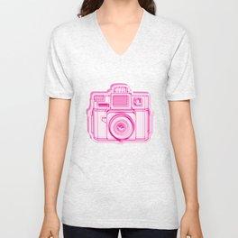 I Still Shoot Film Holga Logo - Reversed Pink Unisex V-Neck