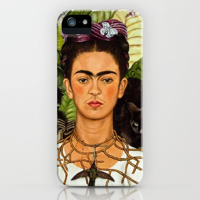 self portrait with thorn necklace and humming bird - frida kahlo iphone case