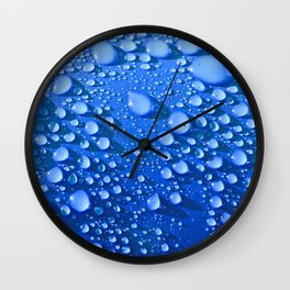 Raindrops on Blue Wall Clock
