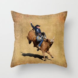 Bull Dust! - Rodeo Bull Riding Cowboy Throw Pillow