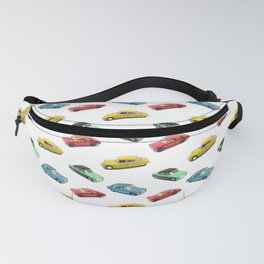 A collection of retro children's toy cars in a repeating pattern Fanny Pack