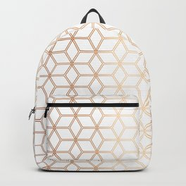 Geometric Hive Mind Pattern - Rose Gold #113 Backpack