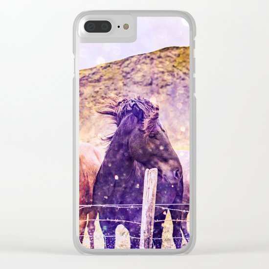 Southwest Horse Ranch Horses Clear iPhone Case