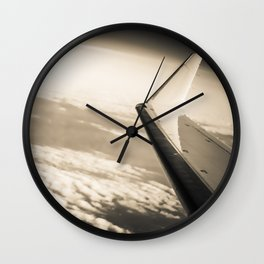 Airplane View Black and White Wall Clock