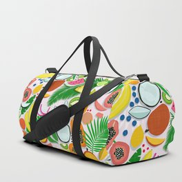 Fresh Fruits and Palms / Colorful Foods and Leaves Duffle Bag