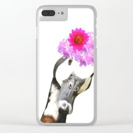 Goose funny farm animal illustration Clear iPhone Case