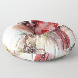 Cardinal Birds Couple Floor Pillow