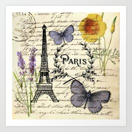 french botanical print purple butterfly lavender floral paris eiffel tower Art Print