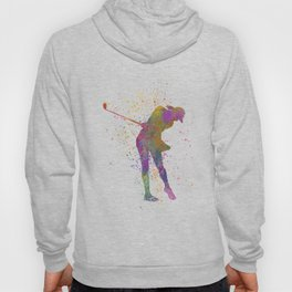 Female golf player competing in watercolor 01 Hoody