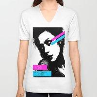 neon V-neck T-shirts featuring Neon by DarkTourist