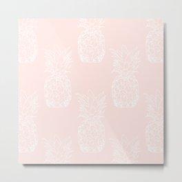 Peite pineapples pink Metal Print