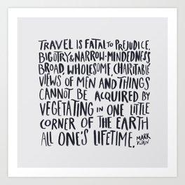 Travel - Twain (white) Art Print