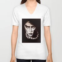 "rocky horror V-neck T-shirts featuring Rocky Horror Picture Show ""Sweet Transvestite"" by Kristin Frenzel"
