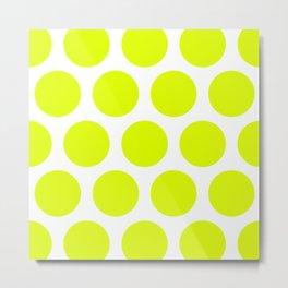 Chartreuse Large Polka Dots Metal Print